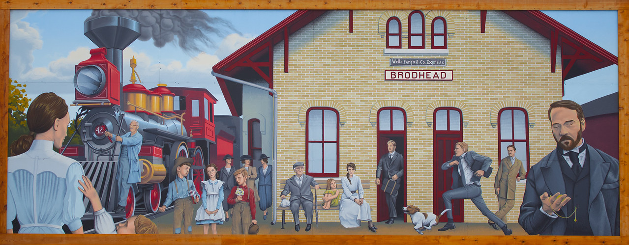 15JUL2014   Waiting For A Train  A mural on the side of a building in Brodhead Wisconsin.  Have a great day!