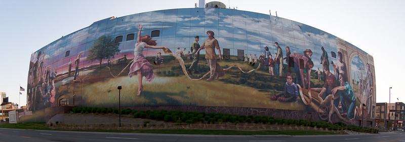 15JUNE2012<br /> <br /> Downtown Omaha Mural<br /> <br /> This is the building next to the College World Series stadium in Omaha Nebraska at 8mm.