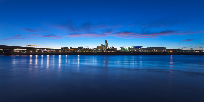 25NOV2012<br /> <br /> Omaha Blues<br /> <br /> As the river slowly meanders by the sunset turns to blue and the lights of downtown illuminate.<br /> <br /> A single 10 second shot at f13....the tower is lit in holiday lights.<br /> <br /> Have a great Sunday!