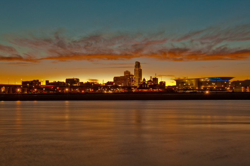 26NOV2011<br /> <br /> Thanksgiving Day Sunset........Downtown Omaha Nebraska.<br /> <br /> Husker Nation is satisfied.......