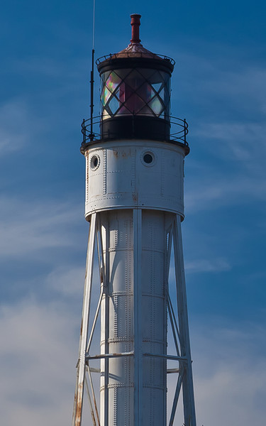 Sturgeon Bay Canal Light.<br /> <br /> Inside the Coast Guard Facility this Lighthouse is off limits to the public the North Pierhead Light you are able to walk out to just across the island from it. The black catwalk out the jetty is impressive.