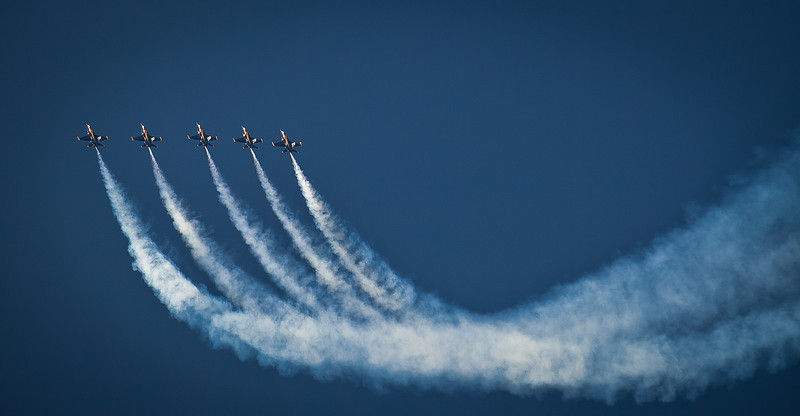 """31JAN2012<br /> <br /> Blue Angels....going up!<br /> <br /> You would never think these guys have a bad show but they do. In this airshow  three of the six planes had smoke issues  or the formation was erratic...when they landed and dismounted all you could hear was dead silence from the team, no interview, no comments. Look close at the formation and you can see how far off they are. These guys are the best of the best....but they too sometimes have a bad day at the office....still would love to have a few hours in there """"office chair.""""<br /> <br /> Hope you had a Happy Birthday brother Tom!<br /> <br /> Thanks for making the balloons #1 yesterday....I am feeling better, thanks.  Enjoy this one too!"""