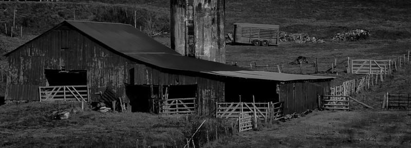 "15JAN2012<br /> <br /> Gaited Community.....<br /> <br /> How many gates can you see....found this barn on the Georgia North Carolina border just down the road from the Sylvan Gristmill, oddly enough there was no livestock around....makes ya wonder.<br /> <br /> Thanks for all the wonderful comments on the  ""Forest for the Trees"" shot yesterday and making it #1.....I am humbled. Most of the time later in the day I edit the caption for questions received from people in this gallery, thanks for asking.... I write most of the captions for the book of photos I hope to someday soon start to publish, the captions or stories will overlay the picture in the book. I sometimes add a story about the image or my antics getting the image....some images really don't have a story, its just another incredibly beautiful place. I try to give you all the information you need so you are able to go there yourself and see it in person. Thanks again for taking the time to comment and for  looking at my work......Go Green Bay!<br /> <br /> Thanks Mark ....enjoyed yours also....we love Wisconsin and your in the thick of it! Keep up the great work!"