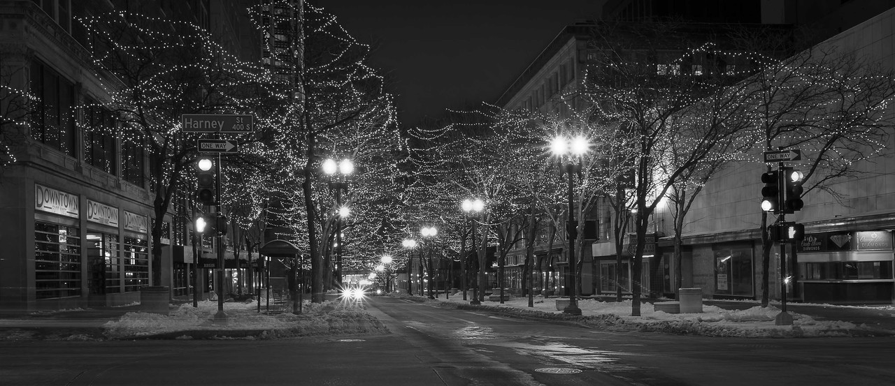 12JAN2013<br /> <br /> Downtown Lights<br /> <br /> A festive view of a vacant downtown on Christmas Eve.<br /> <br /> This is a single shot twenty second image.<br /> <br /> Thanks for leaving me a comment, have a wonderful weekend.