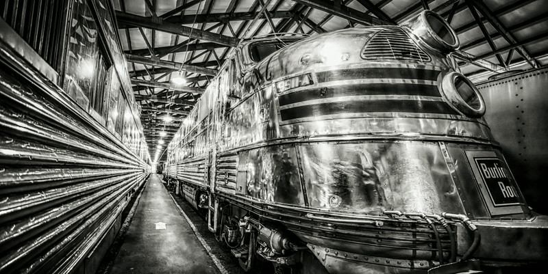 14JUL2014  In The Shed  The Nebraska Zepher at home in the balmy 75 degree day.  One has to wonder why its not in Lincoln Nebraska at the BNSF facility, at the Illinois Railway Museum.  Hey thanks for commenting on my work, life is about seeing the things around you.