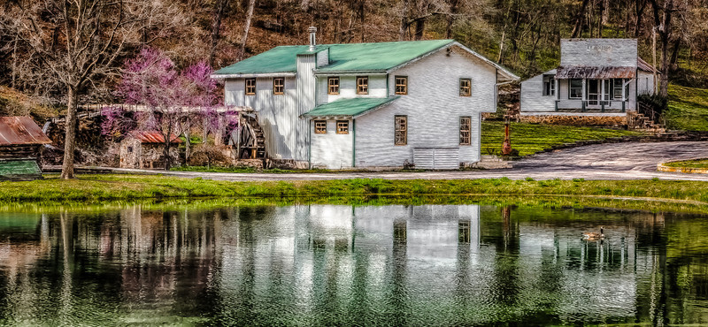 06MAR2014  Zanoni Mill  Located in Ozark County Missouri this Mill is one of many on a auto tour route in the southern portion of the state.  Took this in the Springtime, the water had a trace of ice near the edges.  Thanks for looking at my work today, have a great day!