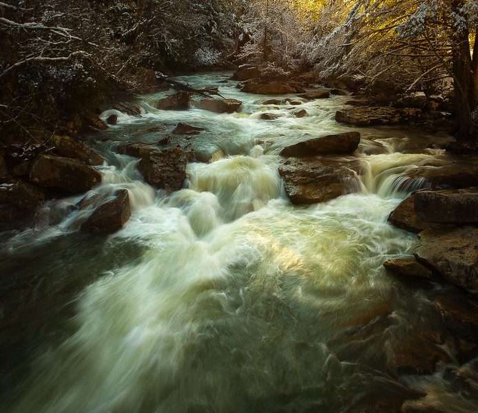 04JAN2012<br /> <br /> Glade Creek Rapids at daybreak.......<br /> <br /> It was shortly after I took this shot I fell on the rock out in the middle of the creek downstream of the mill.......my 16-35mm lens snapped off the camera body on impact and rolled into the creek...... &^%+?*%#!!!!!....$$$$$!!!!!!