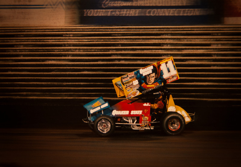 "28JAN2012<br /> <br /> Steve Kinser....""THE KING""..... some years back at The Knoxville Nationals in the Superman Car. It was the big movie just released at that time.<br /> <br /> This is a pic of my picture, the scanner just is not cooperating, or I just can't figure it out....<br /> <br /> Enjoy....I have been gone.....sorry..."