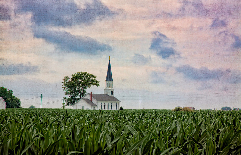 Sunday in the country. This old church is located near Venedy, Illinois. It has a small cemetery and is surrounded by corn fields.<br /> <br /> I edited this by adding a couple textures by Kim Klassen. Thanks Kim.