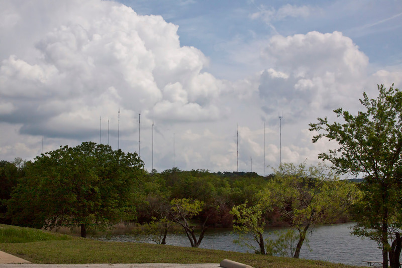 Twenty years ago everyone didn't have a cell phone.  Now, the countryside is cluttered with cell phone towers like this at Cedar Hill State Park in Texas.  Seems  a little like overkill to me. 1.3.13