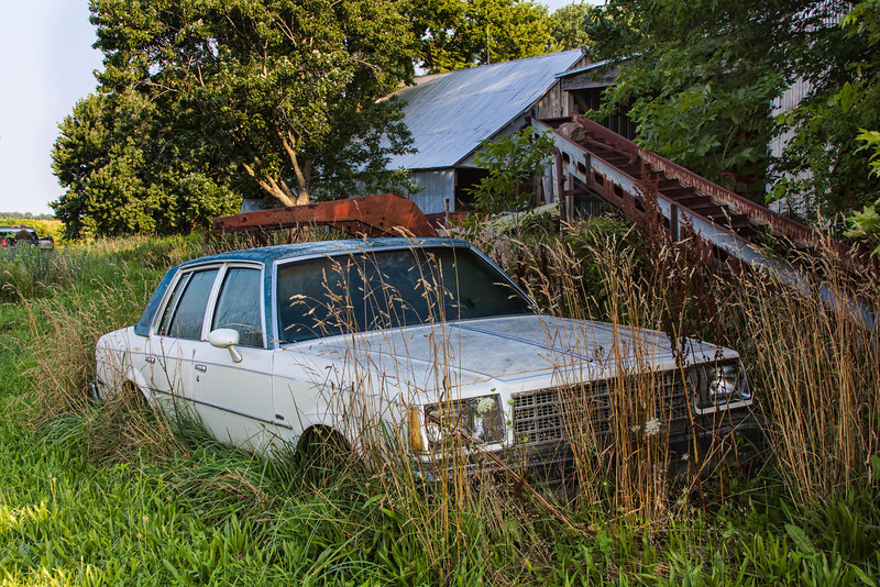 "In addition to growing corn and beans, this farm doubles as an old car graveyard. I bet there are a  dozen  ""carcusses"" of  old cars scattered around this farm house. All different brands dating back to the 50s and maybe even longer. We got up early to go fishing and so I caught some good early morning light on this one. 7.18.13"