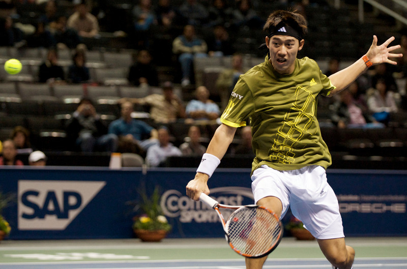 09 February 2009:  Kei Nishikori (JAP) during his 7-5, 6-2 victory over Gilles Muller (LUX) in their first round singles match at the SAP Open at the HP Pavilion in San Jose, CA.