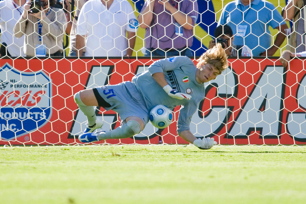 19 July 2009:  Inter Milan goalkeeper Vid Belec (51) blocks a shot during play in the World Football Challenge match between Club America and Inter Milan at Stanford Stadium in Stanford, California.  Club America prevailed 1-1 on penalty kicks.