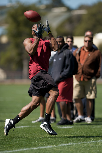 20 March 2008: Stanford alumnus Mark Bradford during workout for NFL team scouts in Stanford, CA.