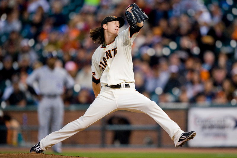 14 September 2009:  San Francisco Giants starting pitcher Tim Lincecum (55) pitches during the Giants' 9-1 win over the Colorado Rockies at AT&T Park in San Francisco, CA.