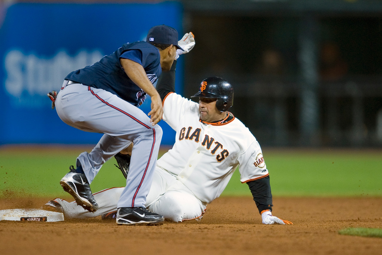 27 May 2009:  San Francisco Giants catcher Bengie Molina (1) slides in safely to second base as Atlanta Braves shortstop Diory Hernandez (27) applies the tag during the Giants' 6-3 win over the Braves at AT&T Park in San Francisco, CA.