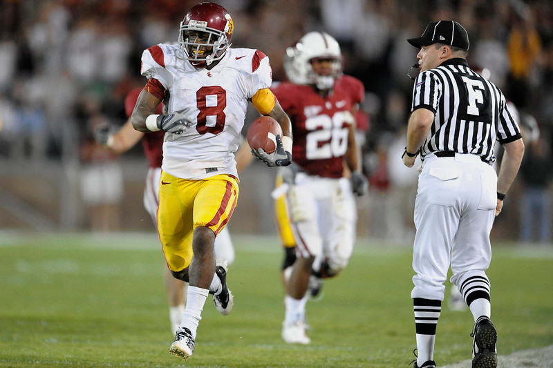 15 November 2008: USC wide receiver Ronald Johnson (8) returns the opening second half kick-off 50 yards during the Trojans' 45-23 victory over the Stanford Cardinal at Stanford Stadium in Stanford, CA.