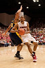 17 January 2009:  Stanford Cardinal forward Lawrence Hill (15) takes the ball inside past California Golden Bears forward Jamal Boykin (10) during the Cardinal's 75-69 win over the rival Golden Bears at Maples Pavilion in Stanford, California.