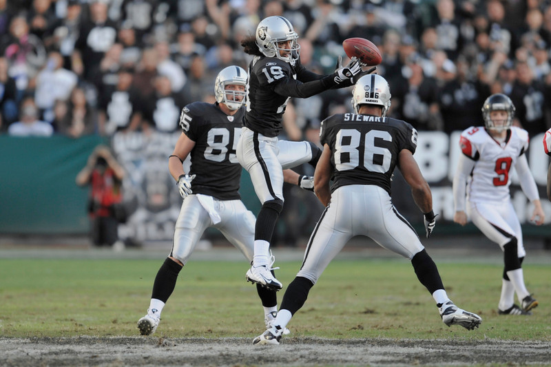 Nov. 2, 2008; Oakland, CA, USA; Oakland Raiders wide receiver Todd Watkins (19) recovers a blocked punt during the fourth quarter of the Falcons 24-0 win over the Oakland Raiders at Oakland-Alameda County Coliseum. Mandatory Credit: Daniel R. Harris-US PRESSWIRE