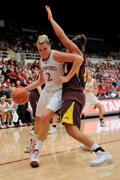 14 November 2008: Stanford center Jayne Appel (2) posts up against Minnesota forward Ashley Ellis-Milan (21) during the Cardinal's 68-55 victory over the Golden Gophers at Maples Pavilion in Stanford, CA.