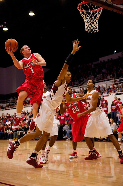 30 December 2008:  Hartford Hawks guard Jaret Von Rosenberg (1) shoots over Stanford Cardinal forward Josh Owens (24) during the second half of the Cardinal's 69-55 win over the Hawks at Maples Pavilion in Stanford, California.