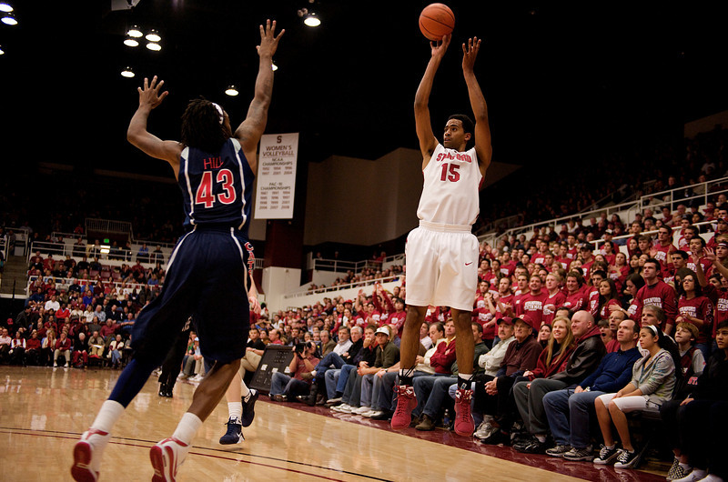 04 January 2009: Stanford Cardinal forward Lawrence Hill (15) shoots over Arizona Wildcats forward Jordan Hill (43) during the first half of the Cardinal's 76-60 win over the Wildcats at Maples Pavilion in Stanford, California.
