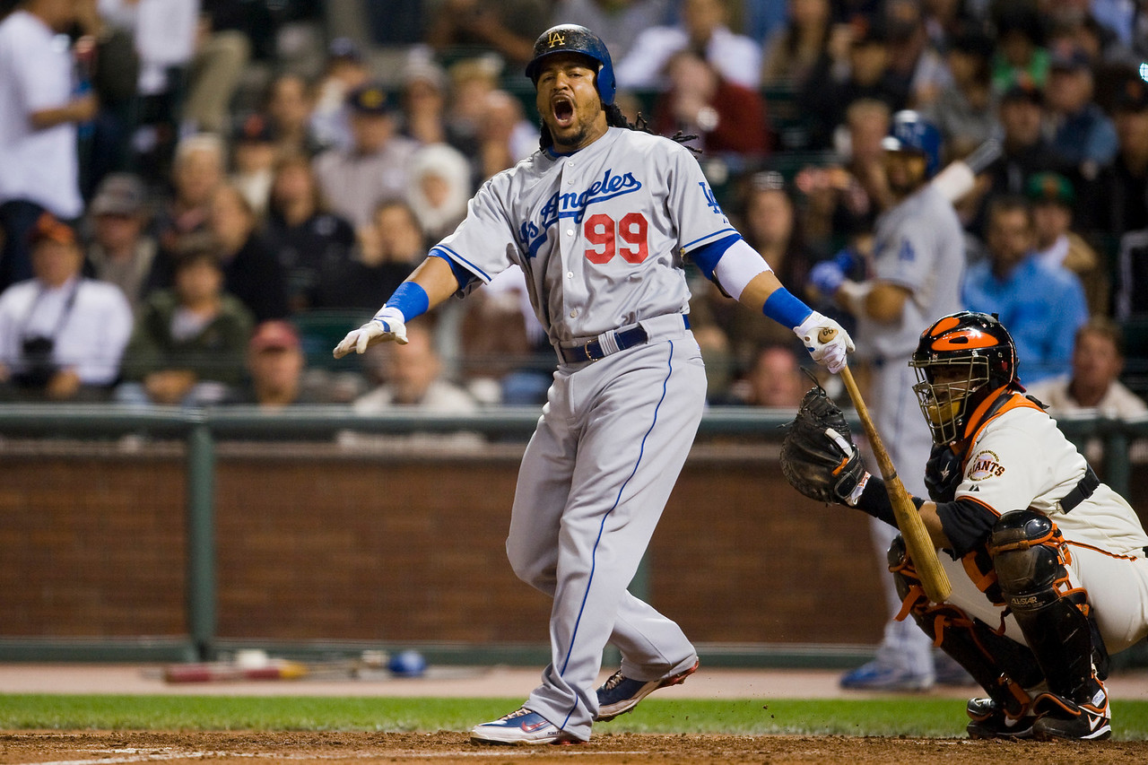 11 September 2009:  Los Angeles Dodgers left fielder Manny Ramirez (99) screams after fouling off a pitch during the Dodgers' 10-3 win over the San Francisco Giants at AT&T Park in San Francisco, CA.