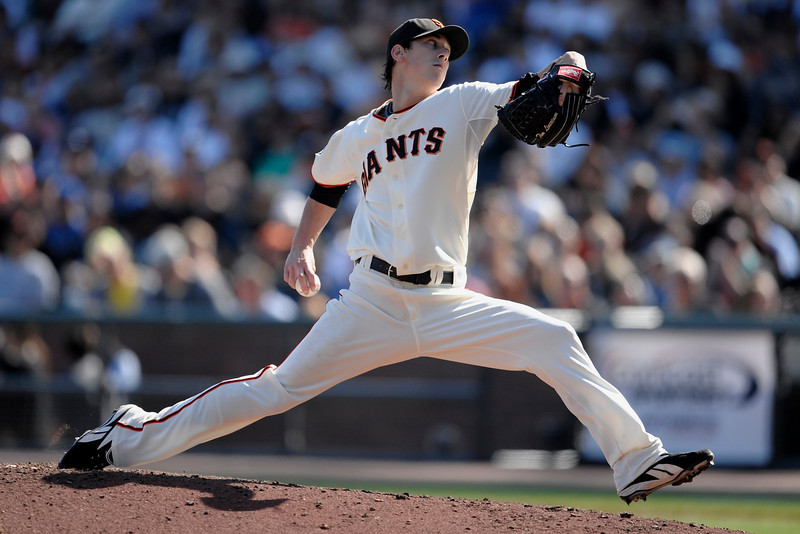 28 September 2008:  San Francisco Giants starting pitcher Tim Lincecum (55) during the Giants' 3-1 win over the Los Angeles Dodgers at AT&T Park in San Francisco, CA.  Lincecum earned his 18th win while striking out 13 batters, including the first nine outs of the game.