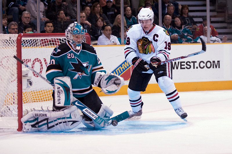 31 January 2009:  San Jose Sharks goalie Evgeni Nabokov (20) blocks a shot by Chicago Blackhawks center Jonathan Toews (19) during the third period of the Blackhawks' 4-2 win over the Sharks at HP Pavillion in San Jose, California.  **** Editorial Usage Only *****