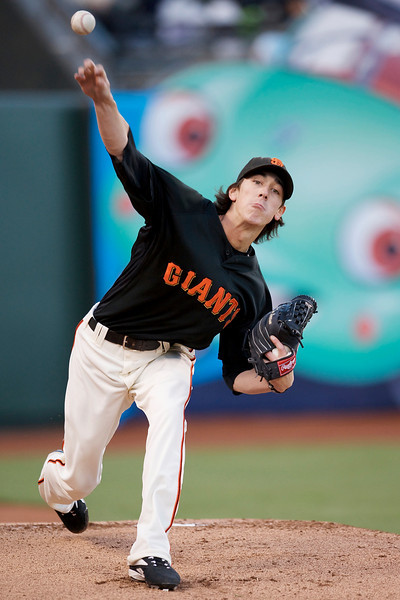 02 April 2009:  San Francisco Giants starting pitcher Tim Lincecum (55) warms up before the Giants' 7-4 exhibition win over the Oakland Athletics at AT&T Park in San Francisco, CA.