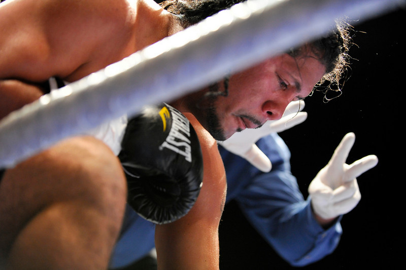 11 September 2008: Marco Arauz (blue trunks) during his second round TKO welterweight loss to Eric Garcia (not pictured) at the HP Pavilion in San Jose, CA.