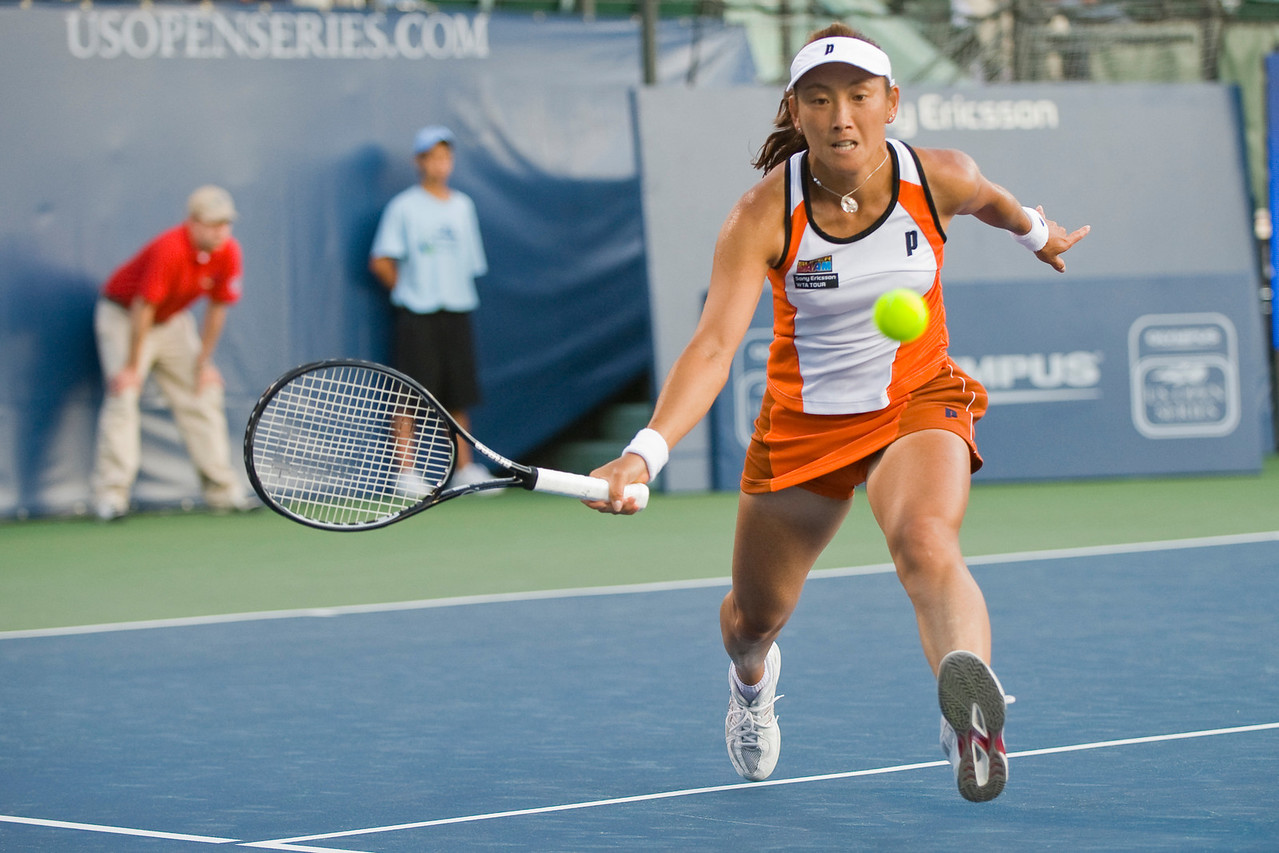 27 July 2009:  Ai Sugiyama (JPN) during her 4-6, 7-6 (8), 1-6 loss to Maria Sharapova (RUS) in their singles match at the Bank of the West Classic in Stanford, CA.
