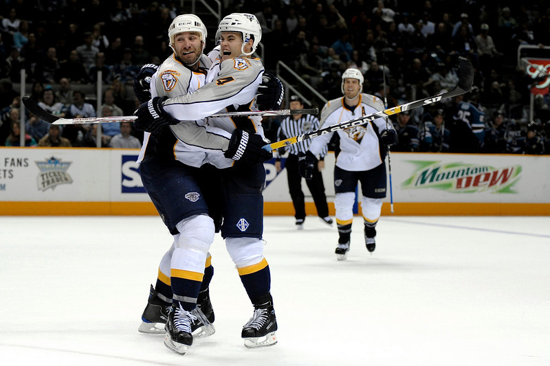 11 November 2008:  Nashville Predators defenseman Ville Koistinen (4) and center Radek Bonk (14) celebrate Koistinen's game winning goal in overtime during the Predators 4-3 win over the San Jose Sharks at HP Pavillion in San Jose, California.  **** Editorial Usage Only *****