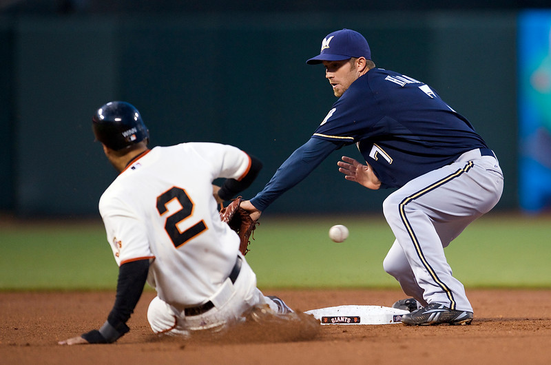 08 April 2009:  San Francisco Giants right fielder Randy Winn (2) steals second base as Milwaukee Brewers shortstop J.J. Hardy (7) tries to apply the tag during the Giants' 4-2 loss to the Brewers at AT&T Park in San Francisco, CA.