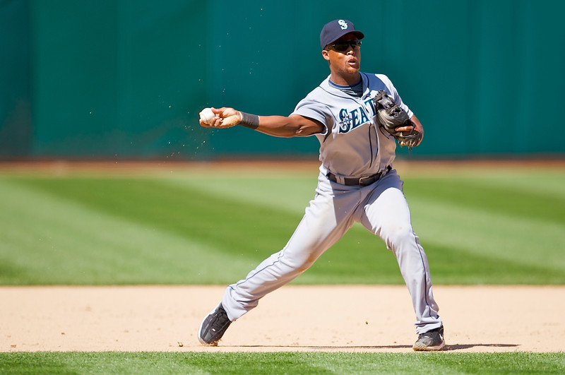 12 April 2009:  Seattle Mariners third baseman Adrian Beltre (29) makes a play at third base during the Seattle Mariners' 1-0 win over the Athletics at Oakland-Alameda County Coliseum in Oakland, CA.