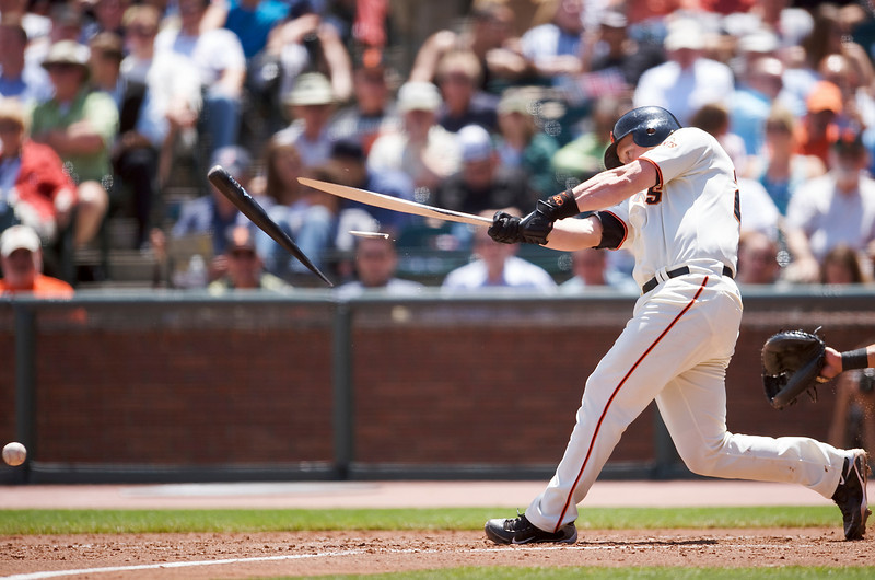 13 May 2009:  San Francisco Giants catcher Steve Holm (20) breaks his bat on a ground ball during the Washington Nationals' 6-3 win over the Giants at AT&T Park in San Francisco, CA.