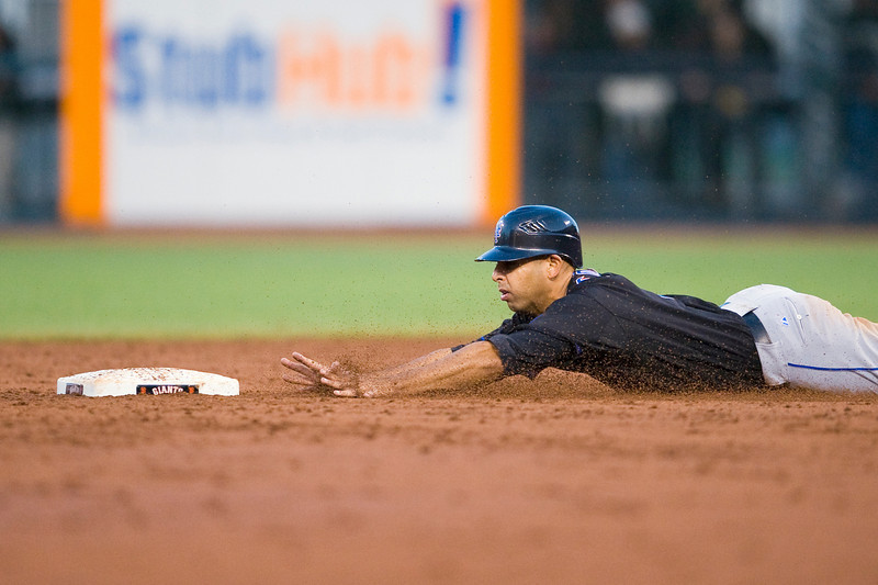 15 May 2009:  New York Mets second baseman Alex Cora (3) dives head first as he steals second base during the San Francisco Giants' 8-6 loss to the Mets at AT&T Park in San Francisco, CA.