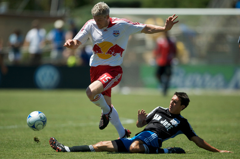 27 July 2008:  Shea Salinas tackles the ball from John Wolyniec (15) during the New York Red Bulls' 1-1 tie with the San Jose Earthquakes at Buck Shaw Stadium in Santa Clara, CA.
