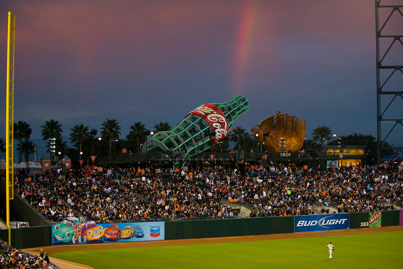 11 July 2009:  AT&T Park with a rare rainbow during the San Francisco Giants' 2-1 win over the San Diego Padres in San Francisco, CA.