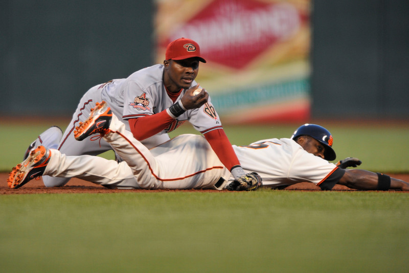14 April 2008:  Ray Durham is out at second on a fielder's choice after Orlando Hudson hangs on to the ball during the San Francisco Giants' 5-4 victory over the Arizona Diamondbacks at AT&T Park in San Francisco, CA.