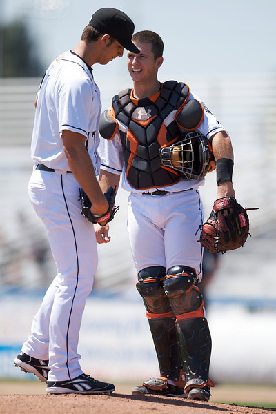 22 April 2009:  San Jose Giants catcher Buster Posey (7) talks things over with starting pitcher Madison Bumgardner (17) during the Giants' 8-1 win over the Lake Elsinore Storm minor league baseball game at Municipal Stadium in San Jose, CA.