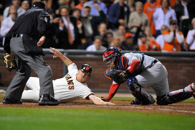 11 April 2008: Yadier Molina (4) tags out Steve Holm (20) at the plate during the St. Louis Cardinals' 8-2 victory over the San Francisco Giants at AT&T Park in San Francisco, CA.