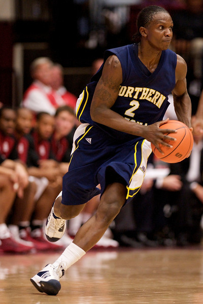 17 December 2008: Northern Arizona Lumberjacks guard Jermaine Bishop (2) drives the lane during the second half of the Stanford Cardinal's 66-57 win over the Lumberjacks at Maples Pavilion in Stanford, California.