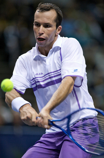 15 February 2009: Radek Stepanek (CZE) hits a backhand during his 3-6, 6-4, 6-2 victory over Mardy Fish (USA) in their SAP Open finals singles match at the HP Pavilion in San Jose, CA.