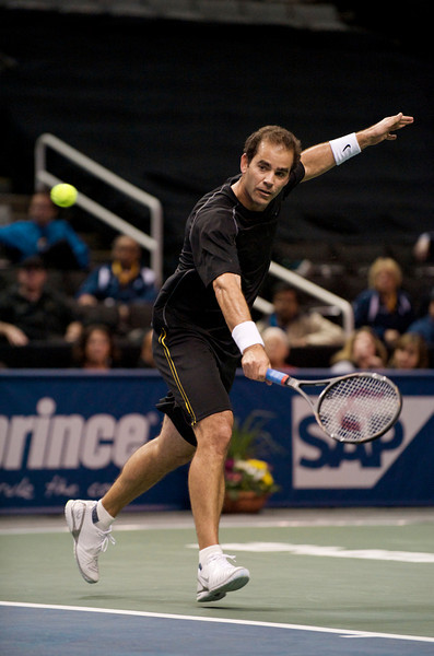 09 February 2009:  Pete Sampras (USA) during his 6-7, 6-4, 10-12 loss to Tommy Haas (GER) in their exhibition singles match at the SAP Open at the HP Pavilion in San Jose, CA.