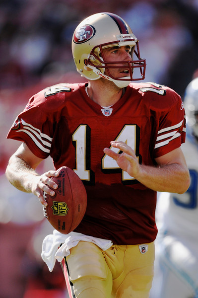 Sep. 21, 2008; San Francisco 49ers quarterback J.T. O'Sullivan (14) looks for a receiver during the fourth quarter of the 49ers 31-13 victory over the Detroit Lions at Monster Park in San Francisco, CA. Mandatory Credit: Daniel R. Harris-US PRESSWIRE