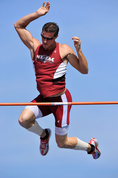 08 March 2008:  Pole vaulting during the Benny Brown Invitational Track and Field Meet at Mt. San Antonio College, in Walnut, CA.