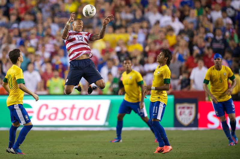30 May 2012: Team USA Midfielder Jermaine Jones (13) heads the ball over Team Brazil Forward Neymar (11) during Team USA's 4-1 loss to Team Brazil in an international friendly soccer match at FedEx Field in Landover, MD.