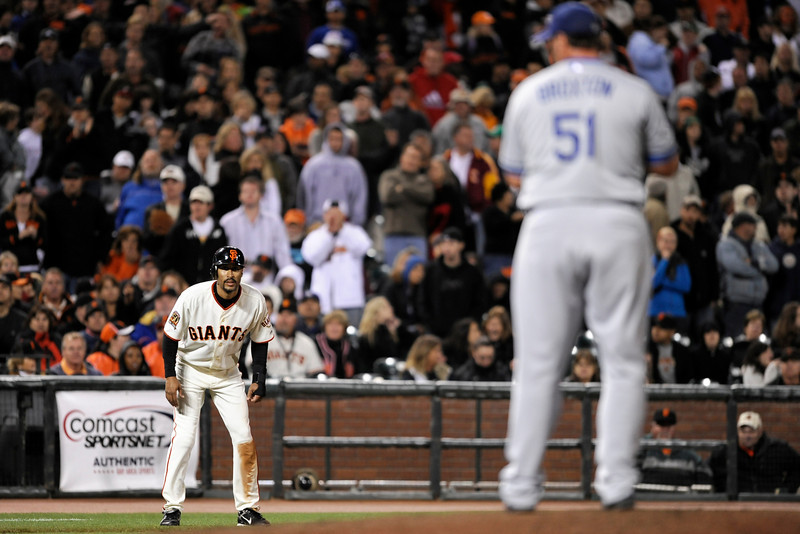 09 August 2008:  Randy Winn (2) leads off third base, representing the winning run, as Jonathan Broxton (51) looks over during the San Francisco Giants' 3-2 10-inning victory over the Los Angeles Dodgers at AT&T Park in San Francisco, CA.  Winn scored on a Aaron Rowand single.