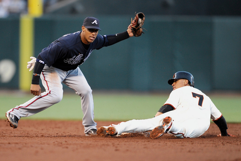 04 August 2008:  Emmanuel Burriss (7) caught stealing second as Yunel Escobar (19) applies the tag during the San Francisco Giants' 4-2 victory over the Atlanta Braves at AT&T Park in San Francisco, CA.